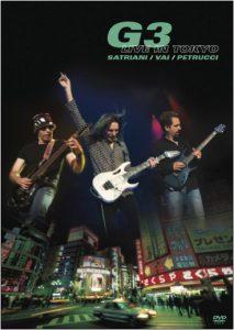"""La copertina dell'album """"G3 Live in Tokyo"""" del 2005 con Joe Satriani, Steve Vai e John Petrucci"""