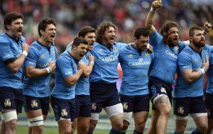 I giocatori della nazionale italiana di Rugby dopo l'inno nazionale, foto: Andrew Matthews/PA Wire