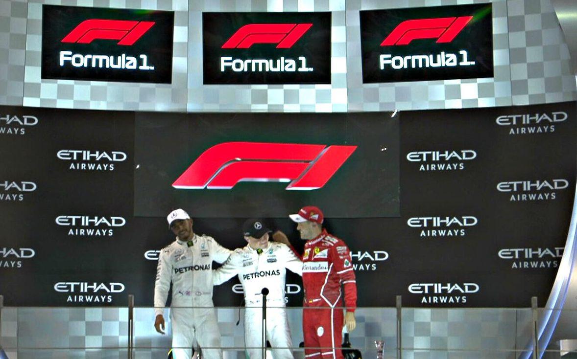 L'ultimo podio della Formula 1 2017. Foto: Twitter.com/f1