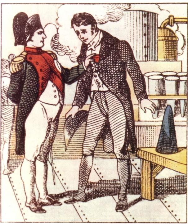 Stampa del tempo raffigurante Benjamin Delessert mentre riceve la Legione d'onore da Napoleone Bonaparte
