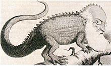 Agostino Depretis in una caricatura dell'epoca. Viene raffigurato come un camaleonte, simbolo del trasformismo di cui fu uno dei primi esponenti. (Wikipedia)