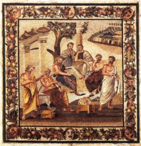 Accademia di Platone in un mosaico a Pompei