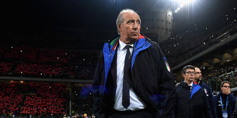 Giampiero Ventura, ex-allenatore dell'Italia, immortalato durante Italia-Svezia allo stadio Giuseppe Meazza a San Siro. Foto: Getty Images