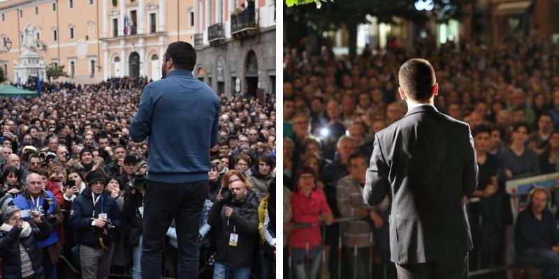 Di Maio e Salvini durante comizi per le lezioni europee